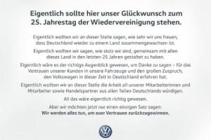 VW Volkswagen Zeitungsanzeige